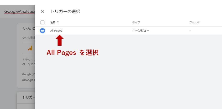 『All Pages』をクリック
