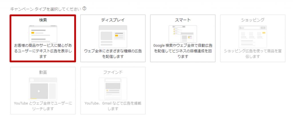 Googlle広告のキャンペーンタイプ選択画面